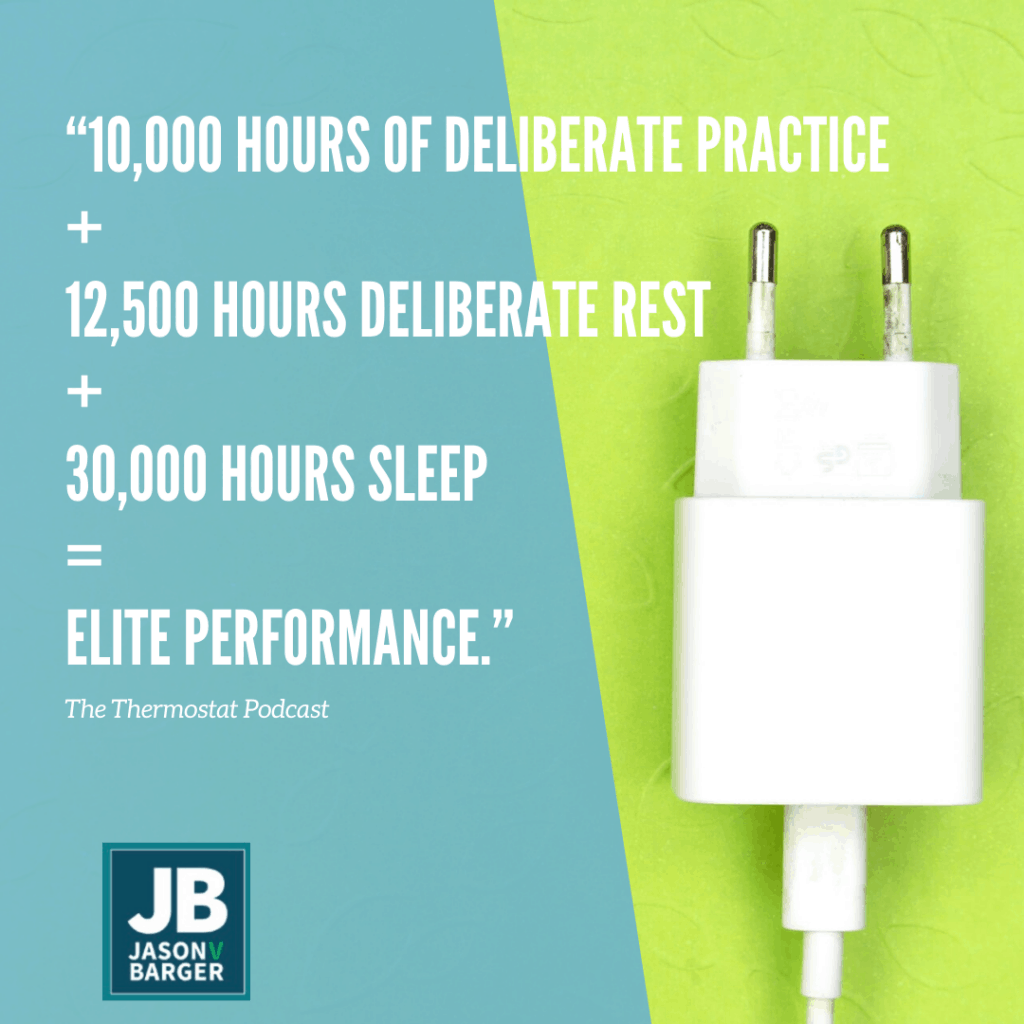 S4 E24: Rest: The Power of Recharging. The image shows a power adapter or charging adapter, get it haha... with the words, 10K hours of deliberate practice + 12.5K hours of Deliberate Rest + 30K hours of sleep = Elite Performance.