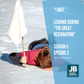 Season 5 Episode 2: The Great Resignation. Image of a boy who fell down in the snow and is waving a white flag signifying his epic defeat when playing in the snow.