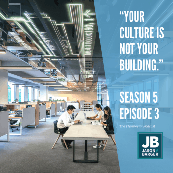 Season 5 Episode 3: Your Building Is NOT Your Culture, image of office space with 2 people working closely together at office desk.