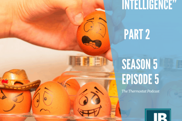 Season 5 Episode 5: Emotional Intelligence — Part 2 (Tips). Eggs lined up with different faces of dread, anguish, fear, and some are even wearing hats. One egg is wearing a golden cowboy hat smiling and winking. Odd to do when the rest have such fearful faces.