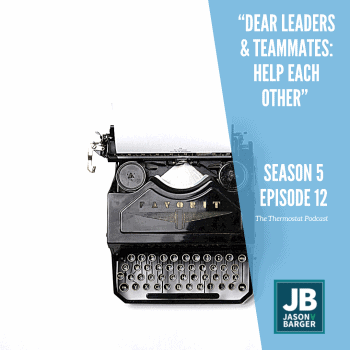 Season 5 Episode 12: Dear Leaders & Employees: Help Each Other! Shows an old Favorit Typewriter on a white background.
